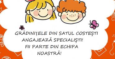 Posturi vacante în grădinițele din Costești!