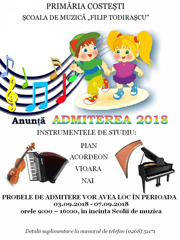 """Școala de Muzică """"Filip Todirașcu"""" anunță Admiterea 2018"""