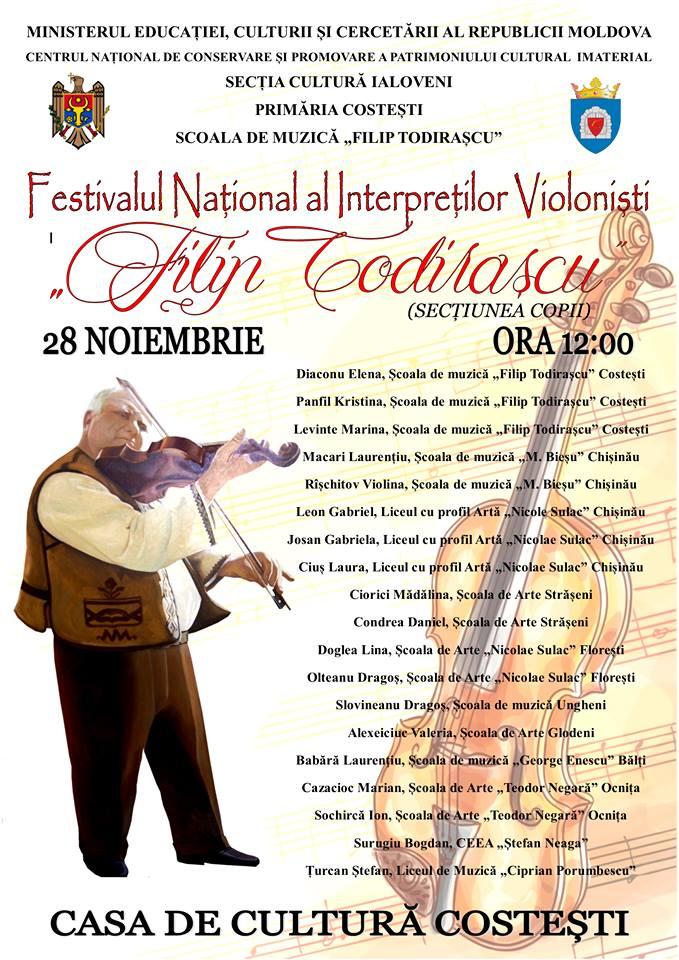 """Invitaţie la festivalul-concurs naţional al interpreţilor violonişti """"Filip Todiraşcu"""" secțiunea Copii"""