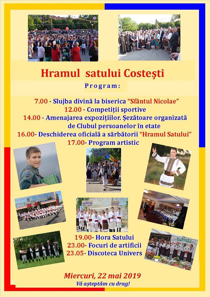 Programul Hramului satului Costești din 22 mai 2019