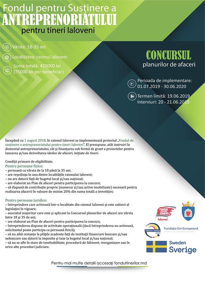 Granturi pentru tineri cu vârsta între 18 – 35 ani din localitățile raionului Ialoveni
