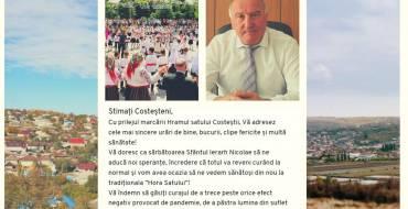 """Mesajul primarului satului Costești cu ocazia """"Hramului"""""""